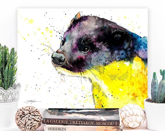 Yellow-throated marten watercolor painting print by Slaveika Aladjova, animal, illustration, home decor, Nursery, gift, Wildlife, wall art