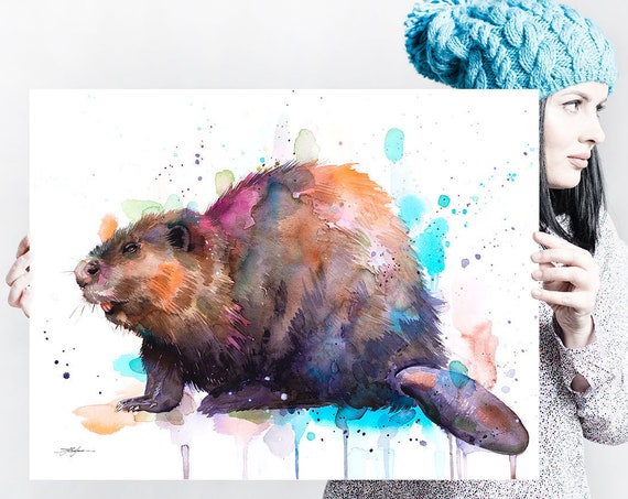 Beaver watercolor painting print by Slaveika Aladjova, art, animal, illustration, home decor, Nursery, gift, Wildlife, wall art