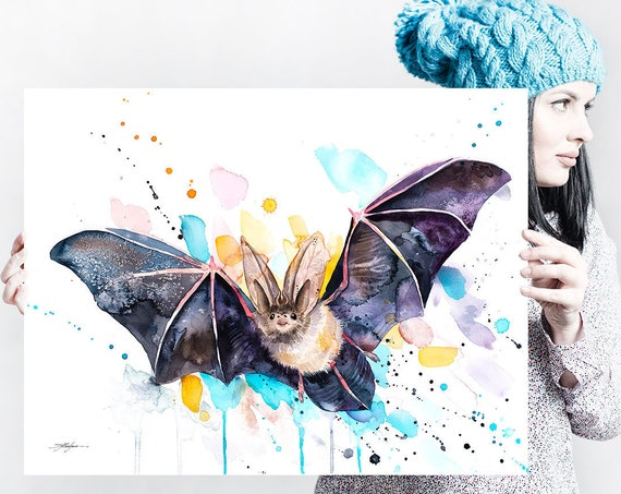 Townsend's big-eared bat  watercolor painting print by Slaveika Aladjova, art, animal, illustration, home decor, wall art, Contemporary