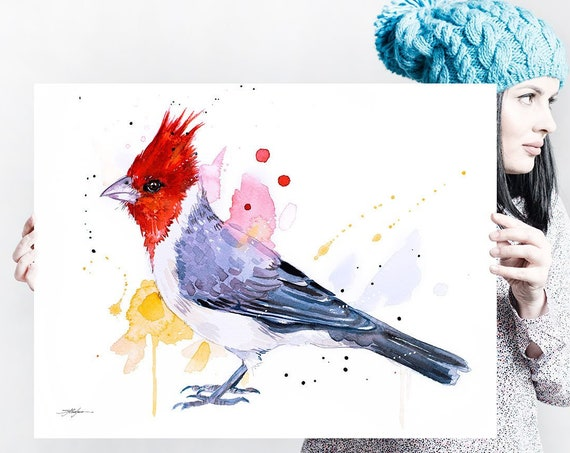 Red-crested cardinal watercolor painting print by Slaveika Aladjova,art, animal, illustration, bird, home decor, wall art, gift,