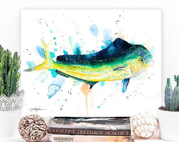 Mahi Mahi, Dolphin fish, Dorado watercolor painting print by Slaveika Aladjova, art, animal, illustration, Sea art, Wall art, fish art,