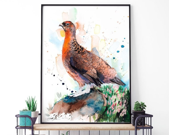 Red grouse watercolor framed canvas by Slaveika Aladjova, Limited edition, art, animal, animal illustration, bird art