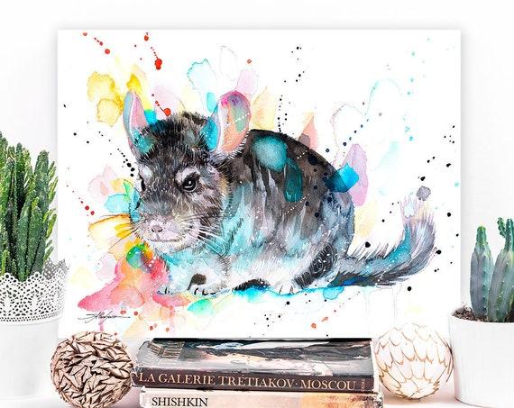 Chinchilla watercolor painting print by Slaveika Aladjova, art, animal, illustration, home decor, wall art, gift, portrait, Contemporary