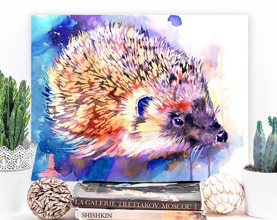 Hedgehog watercolor painting print by Slaveika Aladjova, art, animal, illustration, home decor, Nursery, gift, Wildlife, wall art