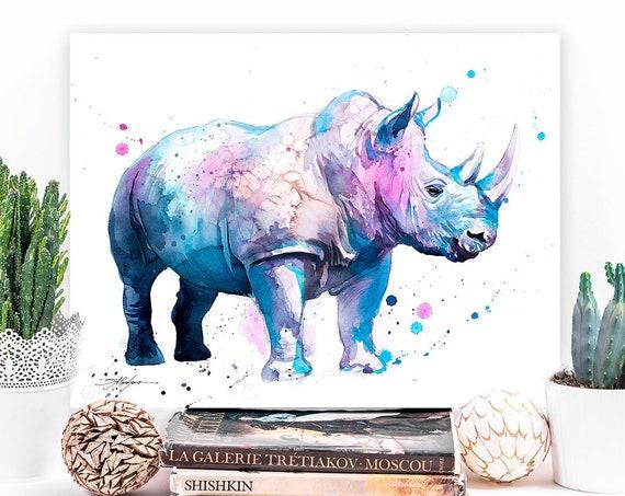Blue Rhinoceros watercolor painting print by Slaveika Aladjova, art, animal, illustration, home decor, Nursery, gift, Wildlife, wall art