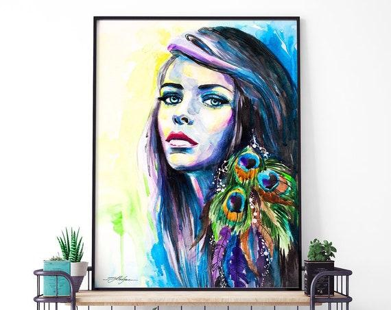 Peacock Girl watercolor framed canvas by Slaveika Aladjova, Limited edition, art, watercolor, animal illustration,bird art
