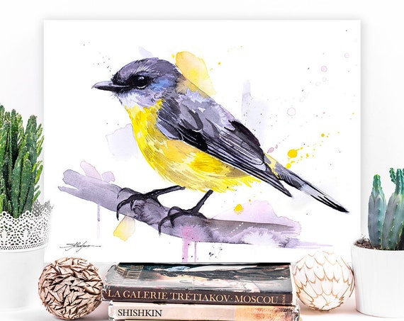 Eastern yellow robin watercolor painting print by Slaveika Aladjova,art, animal, illustration, bird, home decor, wall art, gift,