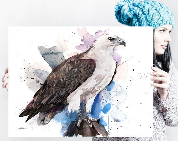 White-bellied sea eagle watercolor painting print by Slaveika Aladjova, art, animal, illustration, bird, home decor, wall art, gift,Wildlife
