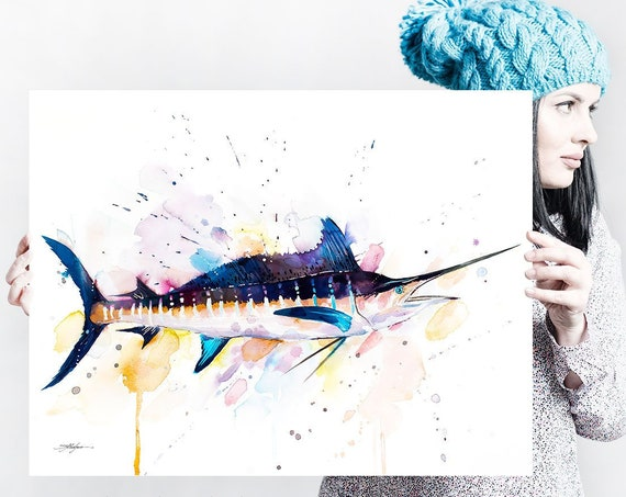 Atlantic blue marlin watercolor painting print by Slaveika Aladjova, art, animal, illustration, Sea art, sea life art, home decor, Wall art