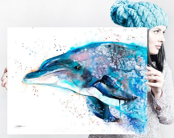 Dolphin watercolor painting print by Slaveika Aladjova, art, animal, illustration, Sea art, sea life art, nautical, ocean art, wall art