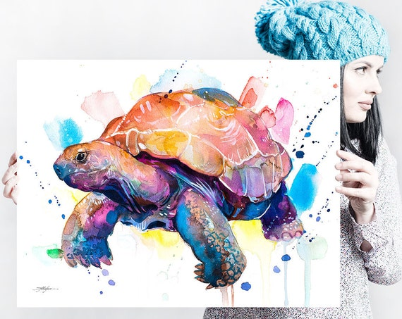 Giant tortoise, Galapagos Giant Tortoise watercolor painting print by Slaveika Aladjova, animal, illustration, home decor, Nursery, gift,
