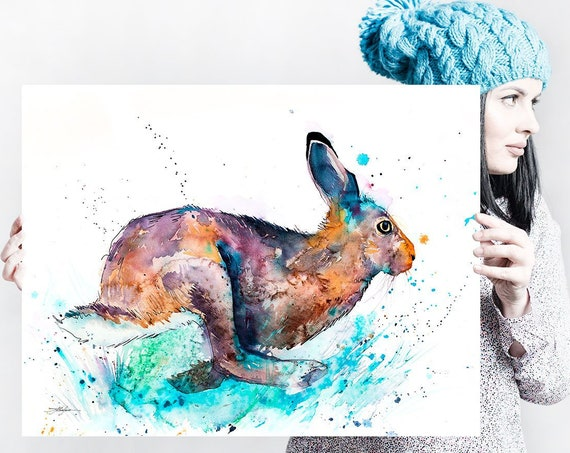 Hare Rabbit jump watercolor painting print by Slaveika Aladjova, art, animal, illustration, home decor, Nursery, gift, Wildlife, wall art