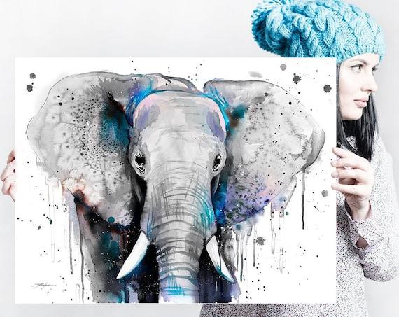 Black and white Elephant watercolor painting print by Slaveika Aladjova, art, animal, illustration, home decor, Nursery, gift, Wildlife