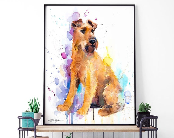 Irish Terrier watercolor framed canvas by Slaveika Aladjova, Limited edition, art, animal watercolor, animal illustration,