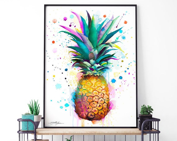 Pineapple watercolor, framed canvas print by Slaveika Aladjova, Limited edition art, Kitchen art, Floral print, Botanical prints