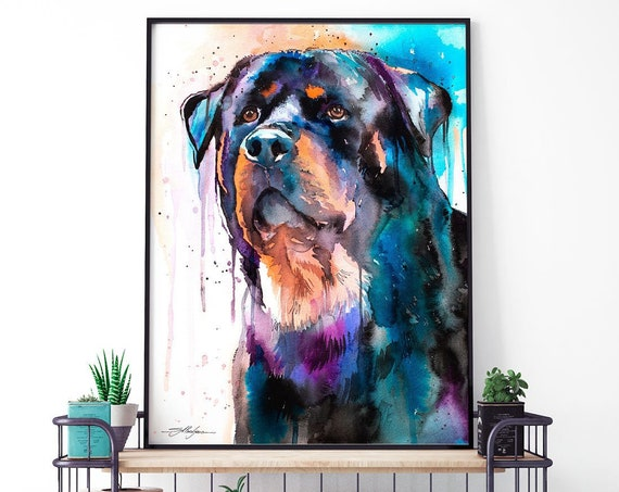 Rottweiler watercolor framed canvas by Slaveika Aladjova, Limited edition, art, animal watercolor, animal illustration, extra large canvas