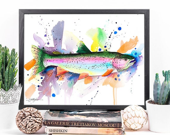Rainbow trout watercolor framed canvas by Slaveika Aladjova, Limited edition, art, animal watercolor, animal illustration,extra large canvas