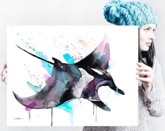Giant Manta Ray, Mobulidae watercolor painting print by Slaveika Aladjova, art, animal, illustration, Sea art, sea life art, home decor,