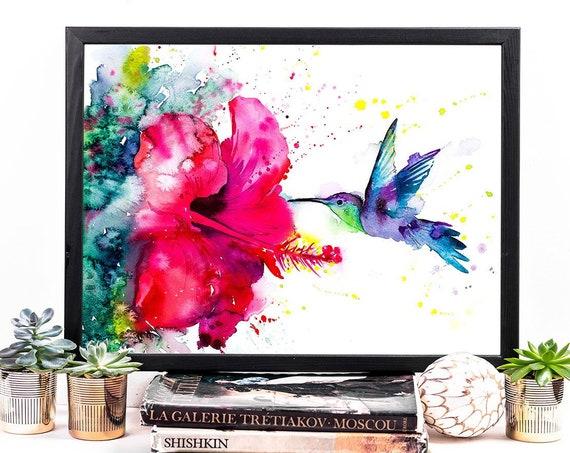Violetear Hummingbird watercolor framed canvas by Slaveika Aladjova, Limited edition, art, animal watercolor, animal illustration, bird art