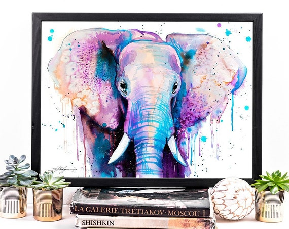 Purple Elephant watercolor framed canvas by Slaveika Aladjova, Limited edition, art, animal watercolor, animal illustration,Large Canvas