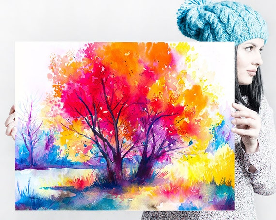 Colorful tree landscape watercolor painting print by Slaveika Aladjova, illustration, Contemporary, nature art, landscape, original