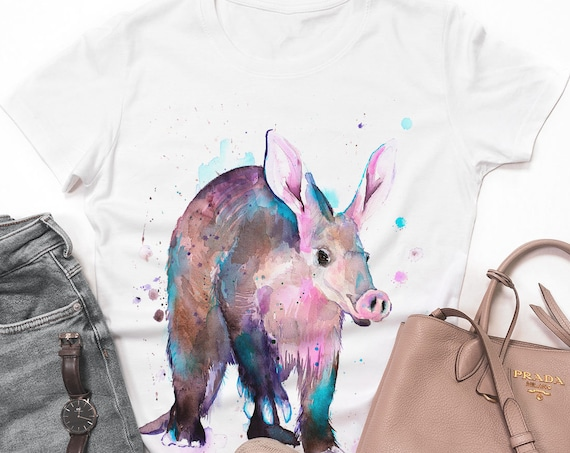 Aardvark  T-shirt, Unisex T-shirt, ring spun Cotton 100%, watercolor print T-shirt, T shirt art, T shirt animal, XS, S, M, L, XL, XXL