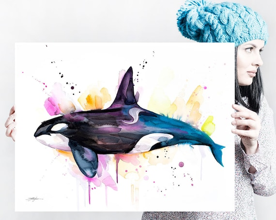 Killer whale watercolor painting print by Slaveika Aladjova, art, animal, illustration, Sea art, sea life art, home decor, Wall art, Orca