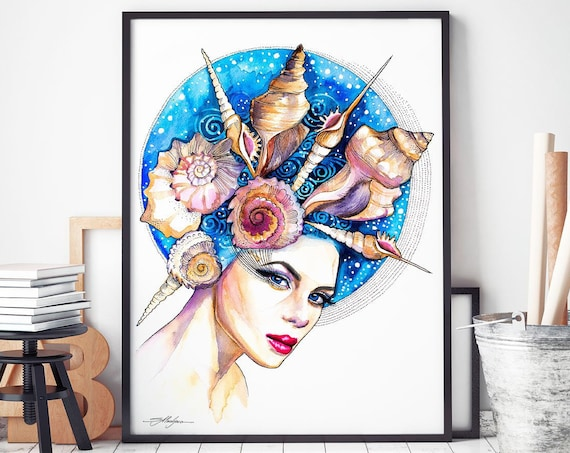 Sea girl watercolor framed canvas by Slaveika Aladjova, Limited edition, extra large art prints, Fashion Illustration, home decor