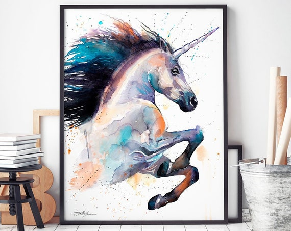Unicorn watercolor framed canvas by Slaveika Aladjova, Limited edition, art, animal watercolor, animal illustration, horse large print