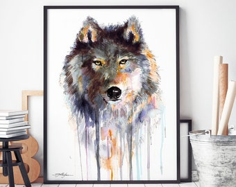 182234763e1 Grey wolf watercolor framed canvas by Slaveika Aladjova