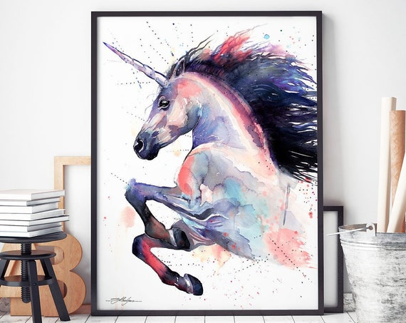 Pink Unicorn watercolor framed canvas by Slaveika Aladjova, Limited edition, art, animal watercolor, animal illustration, art