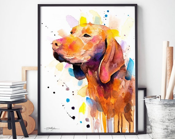 Vizsla watercolor framed canvas by Slaveika Aladjova, Limited edition, art, animal watercolor, animal illustration, art
