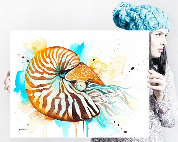 Chambered nautilus watercolor painting print by Slaveika Aladjova, art, animal, illustration, Sea art, sea life art, home decor, Wall art