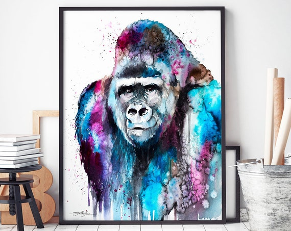 Gorilla watercolor framed canvas by Slaveika Aladjova, Limited edition, art, animal watercolor, animal illustration,