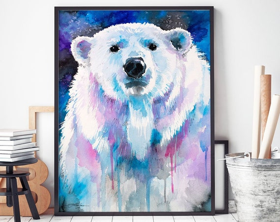 Blue Polar bear watercolor framed canvas by Slaveika Aladjova, Limited edition, art, animal watercolor, animal illustration, large print