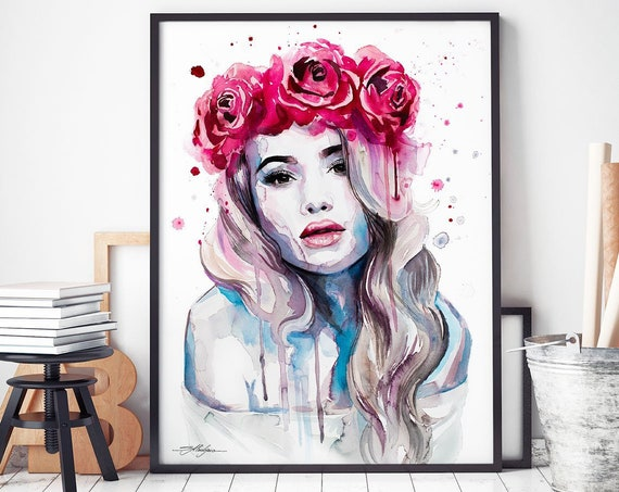 Red Rose Crown watercolor framed canvas by Slaveika Aladjova, Limited edition, extra large art prints, Fashion Illustration, home decor