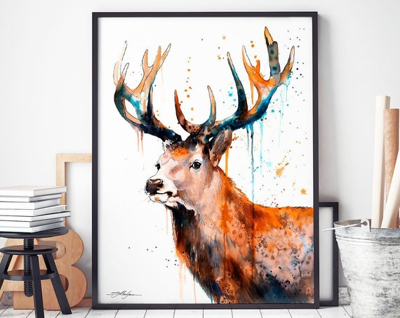 Red deer Stag watercolor framed canvas by Slaveika Aladjova, Limited edition, art, animal watercolor, animal illustration, art