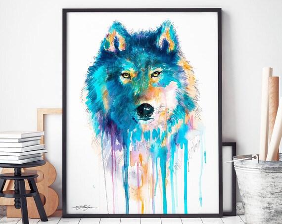 Blue Wolf watercolor framed canvas by Slaveika Aladjova, Limited edition, art, animal watercolor, animal illustration,