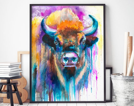 European bison watercolor framed canvas by Slaveika Aladjova, Limited edition, art, animal watercolor, animal illustration, art