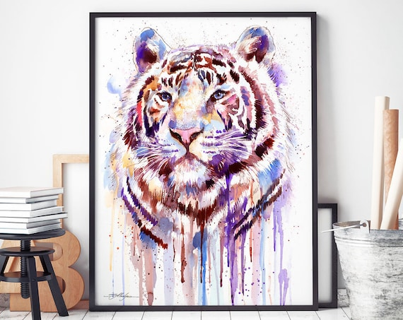 Purple tiger watercolor framed canvas by Slaveika Aladjova, Limited edition, art, animal watercolor, animal illustration,