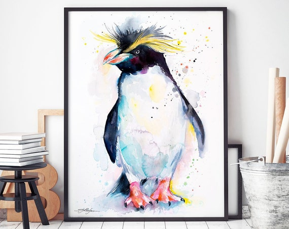 Rockhopper penguin watercolor framed canvas by Slaveika Aladjova, Limited edition, art, animal watercolor, animal illustration,bird art