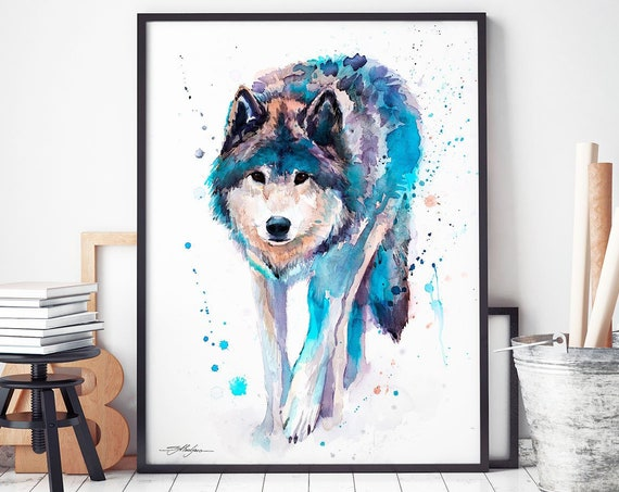 Wolf watercolor framed canvas by Slaveika Aladjova, Limited edition, art, animal watercolor, animal illustration, extra large print