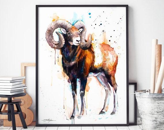 Moose watercolor framed canvas by Slaveika Aladjova, Limited edition, art, animal watercolor, animal illustration, art