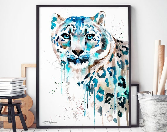 Snow leopard watercolor framed canvas by Slaveika Aladjova, Limited edition, animal watercolor, animal illustration, extra large print