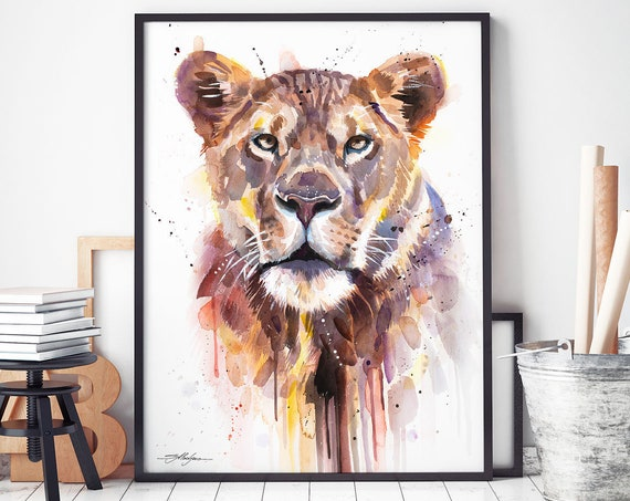 African Lioness watercolor framed canvas by Slaveika Aladjova, Limited edition, animal watercolor, animal illustration, extra large print
