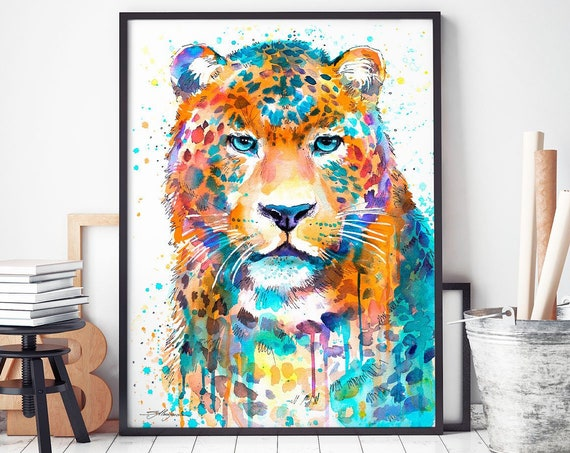 Panther Leopard Jaguar watercolor framed canvas by Slaveika Aladjova, Limited edition, art, animal watercolor, animal illustration,