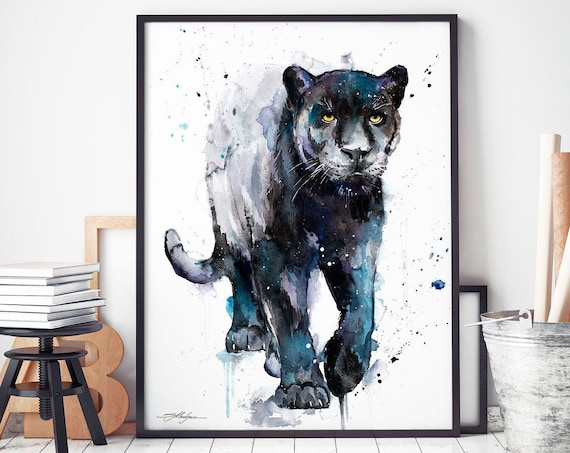 Black panther watercolor framed canvas by Slaveika Aladjova, Limited edition, art, animal watercolor, animal illustration,bird art