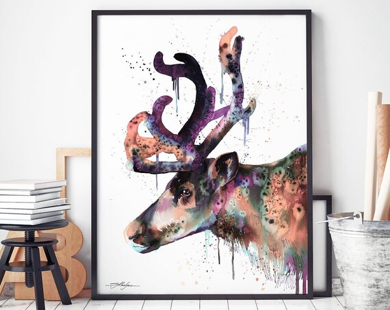 Reindeer watercolor framed canvas by Slaveika Aladjova, extra large canvas, Limited edition, art, animal watercolor, animal illustration