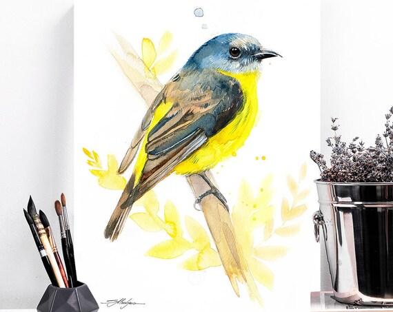 Eastern yellow robin watercolor painting print by Slaveika Aladjova, art, animal, illustration, bird, home decor, wall art, portrait, Flower