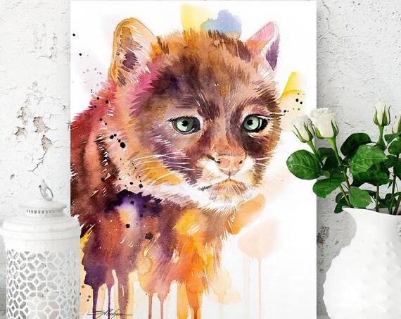 Jaguarundi watercolor painting print by Slaveika Aladjova, art, animal, illustration, home decor, Nursery, gift, Wildlife, wall art, cat